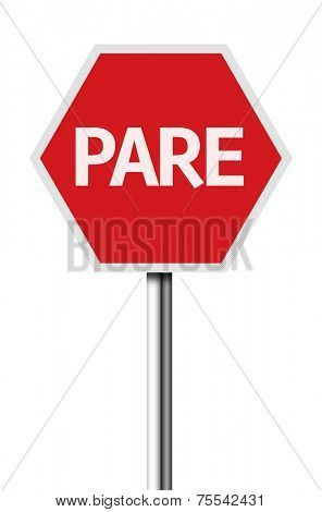 Isolated Stop (Pare in Portuguese) sign on white