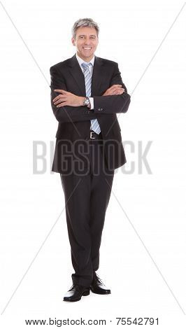 Portrait Of Happy Mature Businessman Standing Arms Crossed