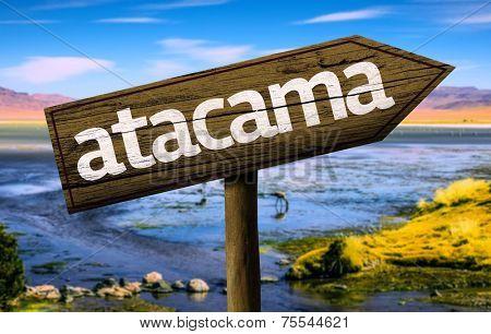 Amazing landscape with Atacama Sign