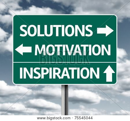 Creative sign with the words - Solutions, Motivation and Inspiration