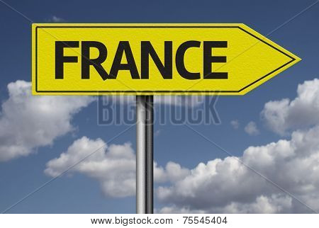 Concept for travel subject - France yellow sign