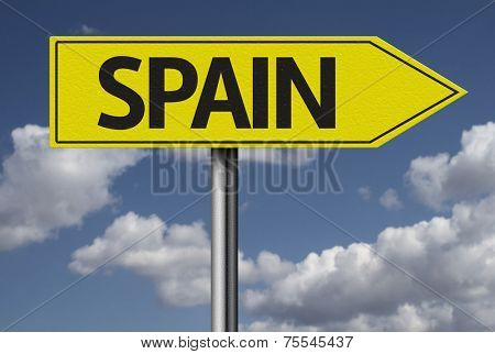 Concept for travel subject - Spain yellow sign