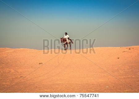 Local People On Horses, In The Famous Saraha Desert,douz,tunisia