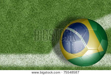 Amazing soccer ball of Brazil on the corner