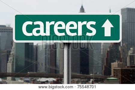 Careers road sign and a business city in the background