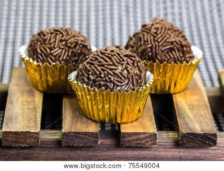 Traditional Brazilian Brigadeiro isolated on Gourmet background