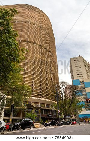 SAO PAULO, BRAZIL - AUGUST 31: Panorama of the Copan Building in August 31, 2013 in Sao Paulo, Brazil. Copan is the largest residential building in the world.