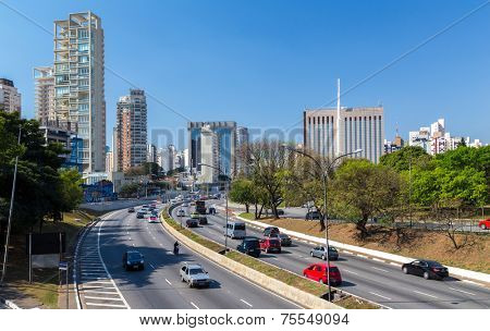 SAO PAULO, BRAZIL - SEPTEMBER 01: The highway and business center in South America on September 01, 2013 in Sao Paulo, Brazil. Sao Paulo Is the most important financial hub in South America.
