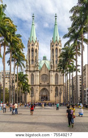 SAO PAULO, BRAZIL - AUGUST 31: View of Se Metropolitan Cathedral in August 31, 2013 in Sao Paulo, Brazil. Se Cathedral was constructed in 1913 in Neo Gothic Style.