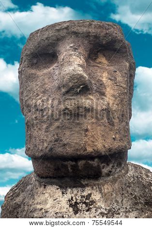 Close-up of Moai in Easter Island , Chile - South America