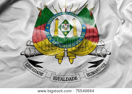 Amazing Flag of the Coat of Arms of the State of Rio Grande do Sul , Brazil