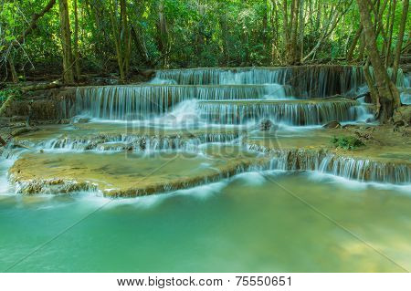 Huay Mae Khamin waterfall in tropical forest,