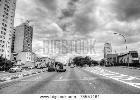SAO PAULO, BRAZIL - SEPTEMBER 01: The Radial highway and business center in South America on September 01, 2013 in Sao Paulo, Brazil. Sao Paulo Is the most important financial hub in South America.