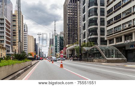 SAO PAULO, BRAZIL - October 13: Paulista Avenue on October 13, 2013, in Sao Paulo, Brazil. Paulista is one of the most important avenues in Sao Paulo with 2.8 kilometer of thoroughfare.