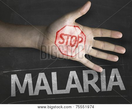 Educational and Creative composition with the message Stop Malaria on the blackboard