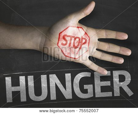 Educational and Creative composition with the message Stop Hunger on the blackboard