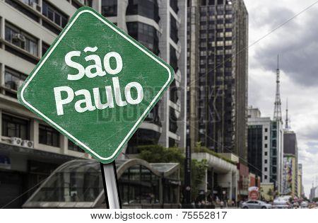 Sao Paulo Sign on Paulista Avenue, Brazil