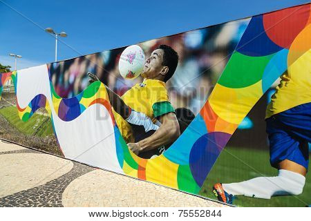 RIO DE JANEIRO, BRAZIL - NOV 03: Colored banner in Copacabana for the next World Cup in Brazil on November 03, 2013 in Rio de Janeiro, Brazil.
