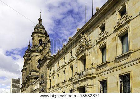 Bogota Cathedral in Bolivar Square in Bogota, Colombia