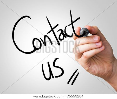 Contact us hand writing with a black mark on a transparent board