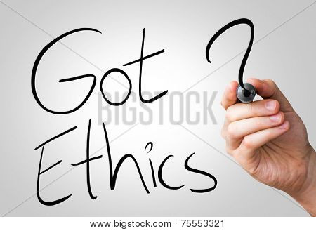Got Ethics hand writing with a black mark on a transparent board
