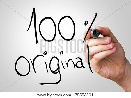 100% Original hand writing with a black mark on a transparent board