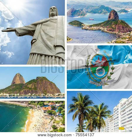 Collage of images from Rio de Janeiro, Brazil, Latin America