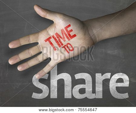 Educational and Creative composition with the message Time to Share on the blackboard