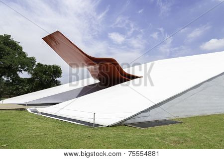 SAO PAULO, BRAZIL - Circa December 2013: The Theater in Ibirapuera Park. The theater is one of the landmarks of Ibirapuera Park, which is a major urban park in Sao Paulo.