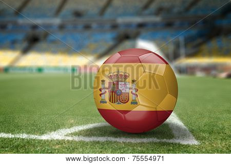 Spanish soccer ball on the soccer field
