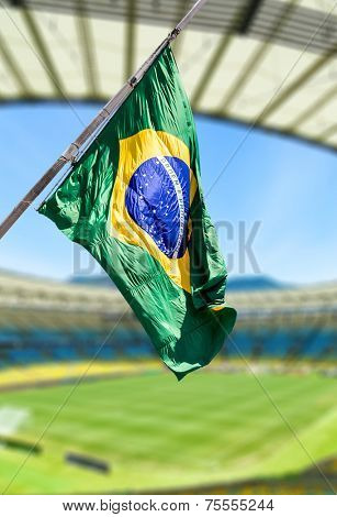 Brazilian flag on the stadium