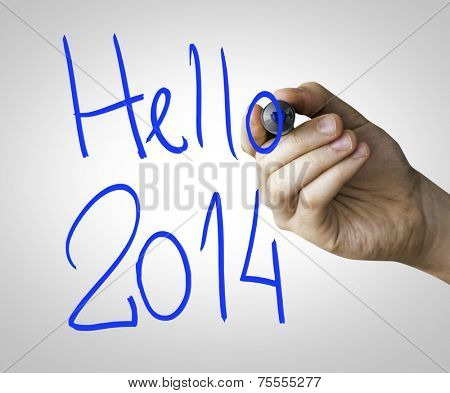 Hello 2014 hand writing with a blue mark on a transparent board