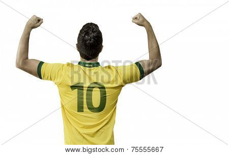 Brazilian man celebrates on white background