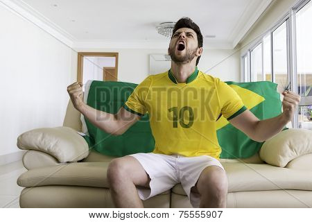Brazilian supporter at home