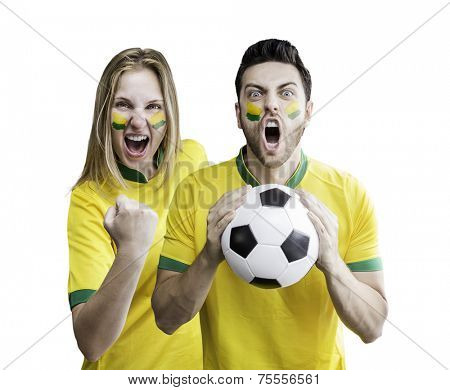 Brazilian couple celebrate on white background. Can be used as Australian uniform too.