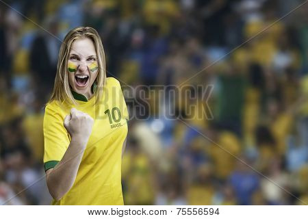 Brazilian woman celebrates on the arena background