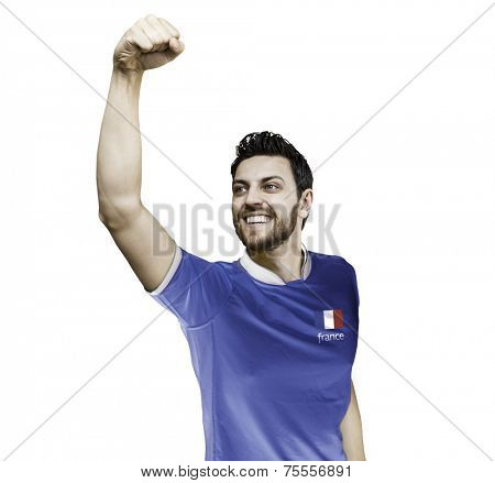 Man celebrates on white background with the french t-shirt