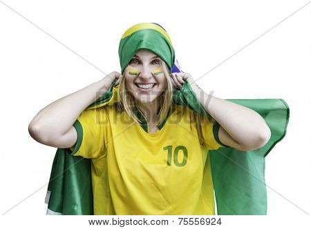 Woman holds a brazilian flag on the white background