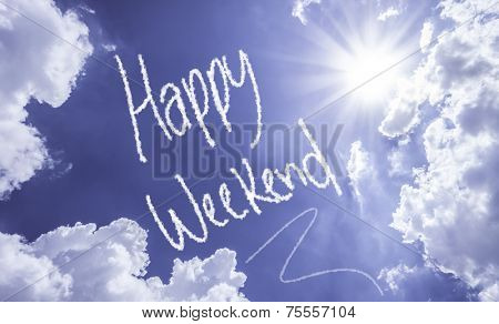 Happy Weekend written on a beautiful sky