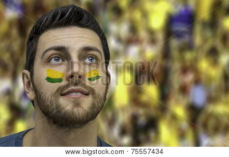 Brazilian fan painted the colors of Brazil on his face