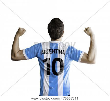 Argentine soccer player celebrates on white background