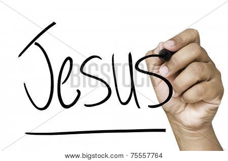 Jesus hand writing with a black mark on a transparent board