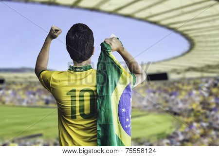 Brazilian soccer player holding the flag of Brazil celebrates with the fans on the stadium