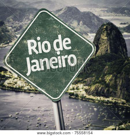 Rio de Janeiro, Brazil with retro filter effect.