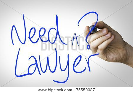Need a Lawyer hand writing on blue marker on transparent wipe board
