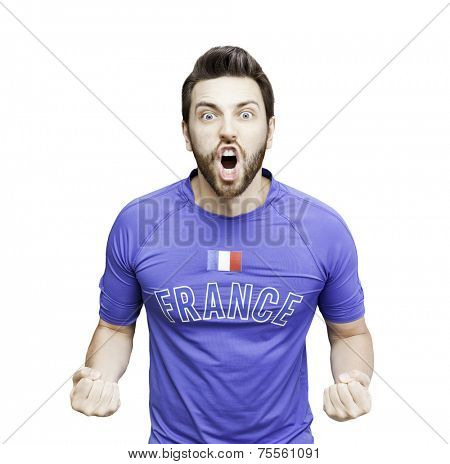 French soccer player celebrates on white background