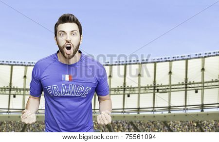 French soccer player celebrates on the stadium