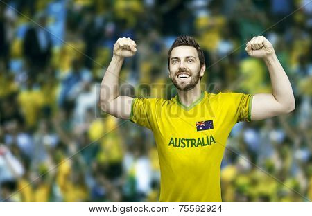 Aussie fan celebrates on the stadium