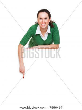 Happy Woman Pointing At Something