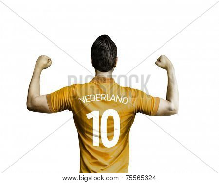 Dutchman soccer player celebrates on white background